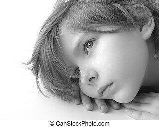 child 10 - black and white portrait of the small pretty...