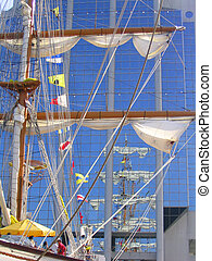 Tall Ship\\\'s reflection - Reflection of the masts of a...