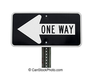 One Way - A silhouette shot of a one way sign. This image...