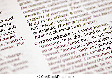 Communicate - The word communicate written in a thesaurus