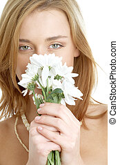 girl with white chrysanthemum flowers