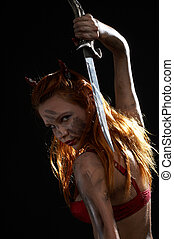 escuro, diabo, menina, faca