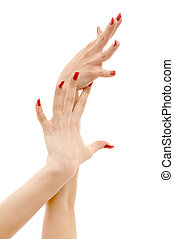 two hands with red nails - picture of two hands with red...