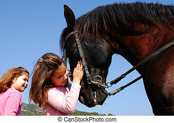 kiss to horse - twins sister and her best friend black horse