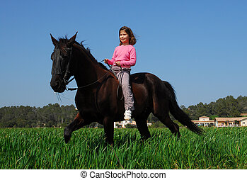 girl and horse - little girl and stallion