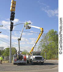 Traffic lights installed 3 - Electric company is installing...