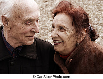 Seniors Love Story - focus point on her eye, special sepia...