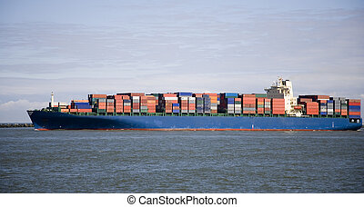 Cargo ship 4 - Container shop leaving the Port of Rotterdam