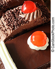 Sweet temptation - Delicious chocolate sponge cakes topped...