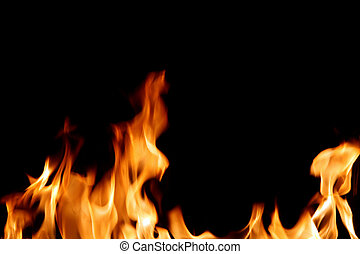 Flames against a back background, for dramatic effect