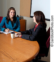Business Meeting - Two Female Business Woman Having A...
