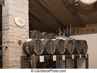 Aging barrels - Barrels of balsamic vinegar aging