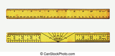Vintage rulers - Back and front views of a vintage wooden...
