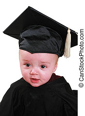 grad baby - a baby in a graduation outfit A black cap and...