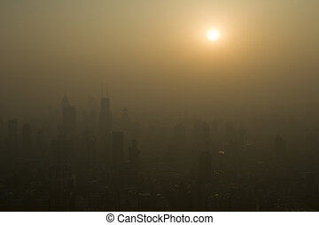 Polluted Skies - Sunset over the smoggy skies of Shanghai