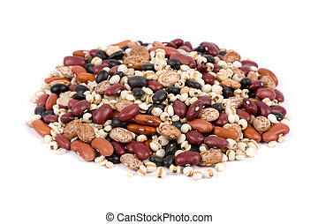 Mixed dried beans close up for background