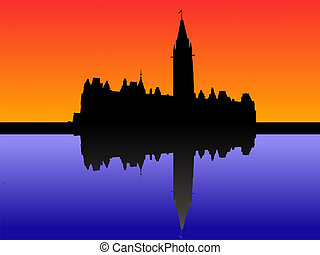 Canadian parliament at sunset with beautiful sky reflected...
