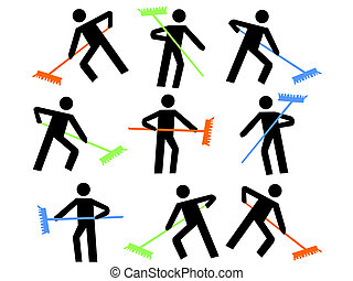 numerous workers with colorful brooms sweeping illustration