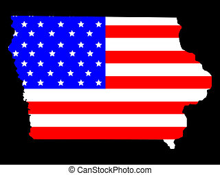 State of Iowa - Map of the State of Iowa and American flag