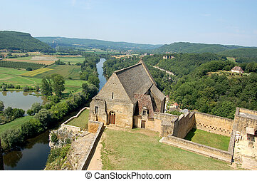 Dordogne from Chateau Beynac with chapel