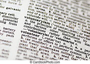 Volunteer - The word volunteer written in a thesaurus