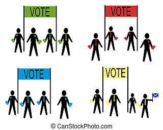 people campaigning for political parties - people...