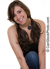 Happy in pigtails - Portrait of an attractive happy brunette...