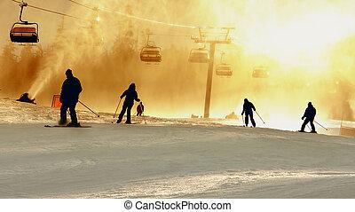 Ski Silhouettes - Skiiers at Whistler
