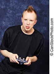 Hard Level - Gamer angry and frustrated over a hard part in...