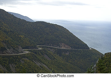 Cabot Trail Road, Scenic Vista from Skyline Trail, Cape...
