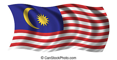 Flag of Malaysia waving in the wind - CLIPPING PATH INCLUDED