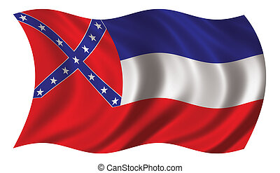 Flag of Mississippi waving in the wind