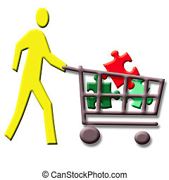 missing pieces - colorful puzzle pieces in a shopping cart