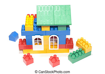 Toy house - series object on white: meccano for child-Toy...