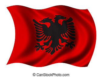 Albania Flag waving in the wind - clipping path included