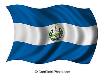 Flag of El Salvador waving in the wind - clipping path...