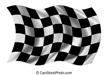 Race flag waving in the wind - with cloth texture - clipping...