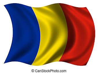 Flag of Romania waving in the wind