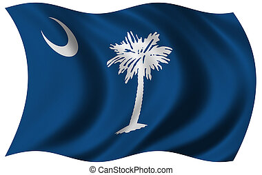 Flag of South Carolina waving in the wind - clipping path...
