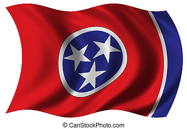 Flag of Tennessee waving in the wind - clipping path...