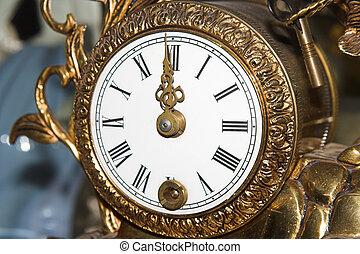 antique clock, twelve o\\\'clock