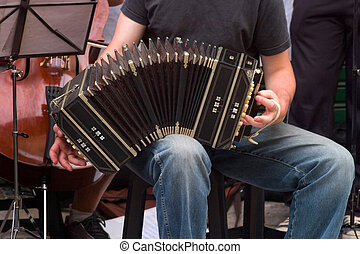 Musico ST_3341. - Musician plays tango with bandoneon in the...