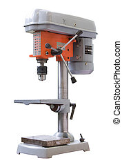 Industrial drilling machine isolated over white