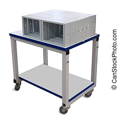 Metal industrial trolley with metallic housing on it....