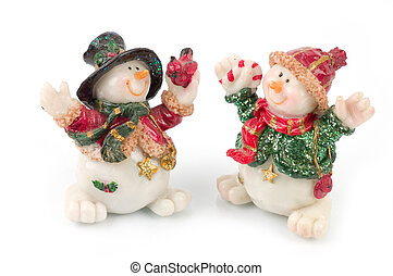 Snowman figures - miniature Snowman statues in different...