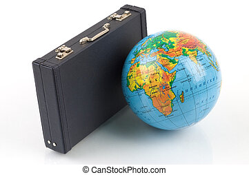 Travel around the world - Little globe and a black suitcase...