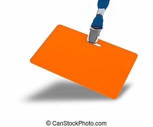 Orange badge on the lanyard - Orange badge and blue lanyard...