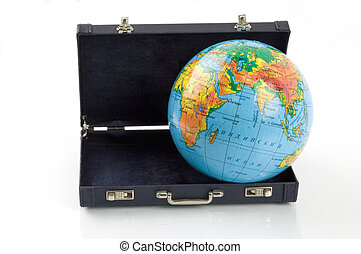 The world in a suitcase - The globe comming out of a...