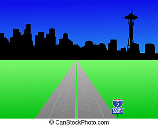 Seattle skyline and deserted interstate 5 illustration
