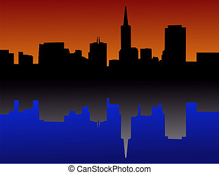 San Francisco skyline reflected at sunset illustration